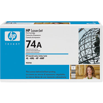 ..OEM HP 92274A (HP 74A) Black Laser Toner Cartridge (3,350 page yield)